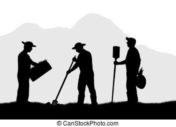 Stock Illustrations of farm workers - illustration,silhouette of ...