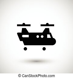 Dual rotor helicopter icon isolated on grey. Vector...