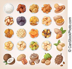 Set of colorful fruit and nuts - Colorful set of dried fruit...