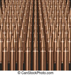 Rifle Bullets background Neat rows of cartridges Vector...