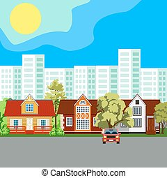 Traditional and modern house. Cityscape background. Urban landscape.