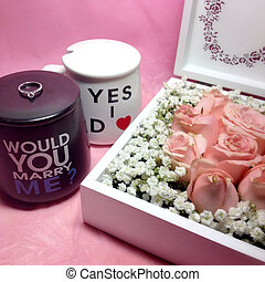 Perfect proposal - A diamond ring and box of roses