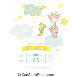 Baby Giraffe Shower Card - with place for your text - in vector