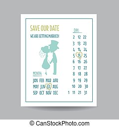 Wedding Invitation Card - Save the Date - with Kissing...