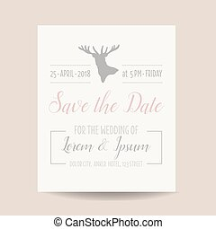 Wedding Invitation Card - Save the Date - Rustic Style - in...