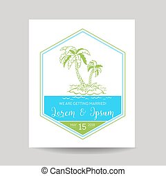 Wedding Invitation Card - Save the Date - Tropical Theme -...