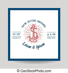 Wedding Invitation Card - Save the Date - Marine Anchor...