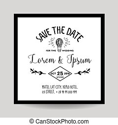 Wedding Invitation Card - Save the Date - Air Balloon Theme...