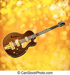 Jazz guitar against a bright background with flash