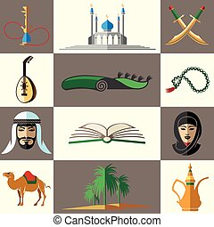 Arabic, middle east flat vector icons - Arabic, middle east...