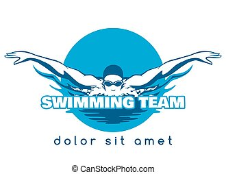 Swimming Team Vector Logo - Swimming Logo. Swimmer icon with...