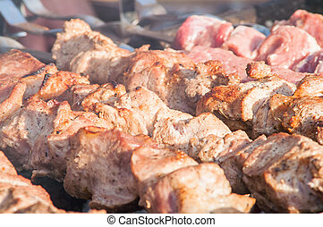 barbecue, grill, skewer