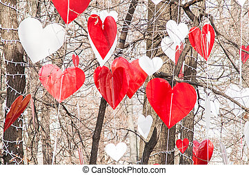 heart hanging tree - happy festive red heart on the tree