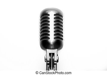 Vintage microphone on white background