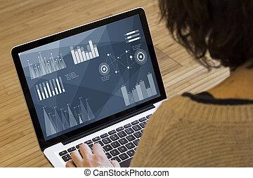 woman computer analyzing stats