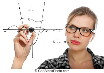 student girl drawing a mathematical graph - blonde student...