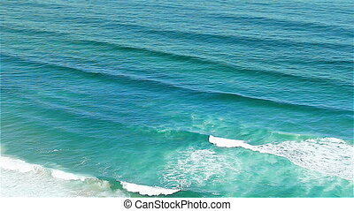 Blue waves Atlantic Ocean Portugal - Colorful blue waves of...