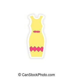 concept stylish paper sticker on white background dress