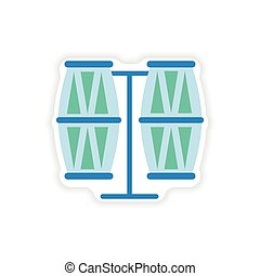 stylish paper sticker on white background Brazilian drums
