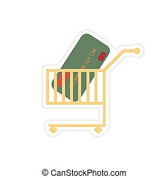stylish sticker on paper bank card in the cart