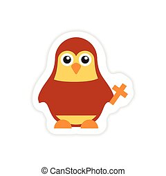 stylish paper sticker on white background penguin priest