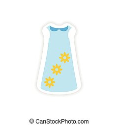 stylish paper sticker on white background dress