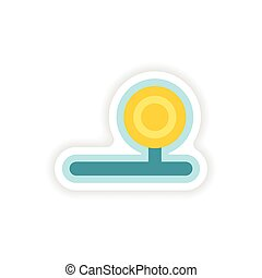paper sticker on white background instrument...