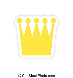 paper sticker British crown on white background