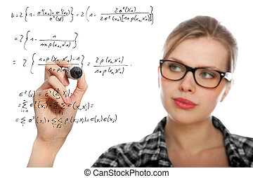 blonde student girl drawing a mathematical formula in the...