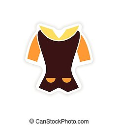 stylish paper sticker on white background cardigan