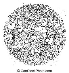 Cartoon hand drawn Doodle Love illustration. Line art...