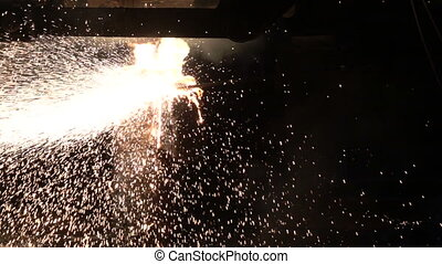 Sparks from hot metal - Stages of production of pig iron and...