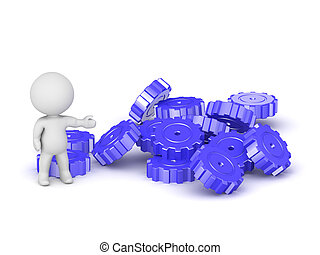 3D Character Showing Pile of Gears - 3D character showing...