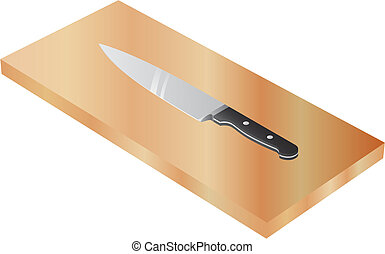 chef's knife on wood cutting board