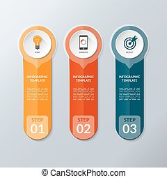 Vector infographic layout template with 3 buttons, steps, parts, options