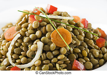 Lentil - Fresh salad from cooked lentiles and onion close up