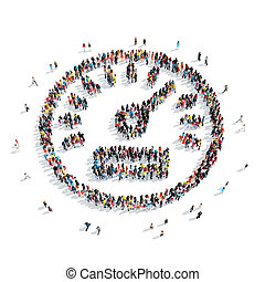 people speedometer icon - A large group of people in the...