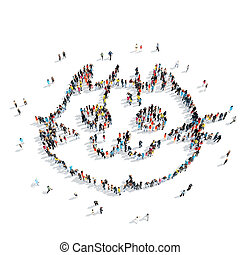 group people shape cat - A group of people in the shape of a...