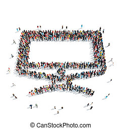 people computer icon - A large group of people in the shape...