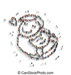 people shape man cartoon - A group of people in the shape of...