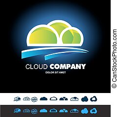 Cloud hosting storage logo icon set - Vector company logo...
