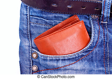 wallet in pocket - Brown wallet in blue jeans pocket on...