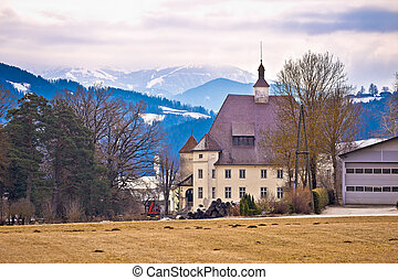 Schloss Wiesenau view in Lavanttal, landmark in Carinthia,...