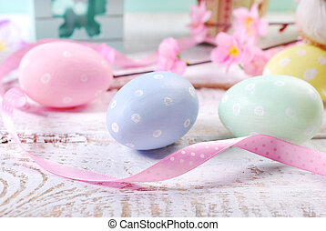 pastel colors easter eggs - pastel color painted easter eggs...