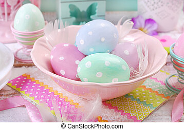 pastel colors easter eggs in bowl - pastel color painted...
