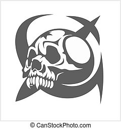 Uni soviet star and USSR skull isolated on white