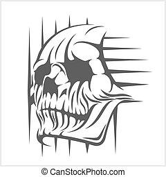 Demon Skull on white - Demon scary Skull isolated on white...