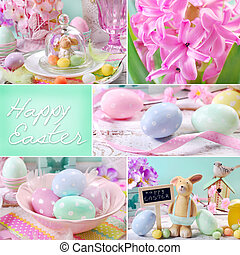 easter collage in pastel colors - easter collage with...