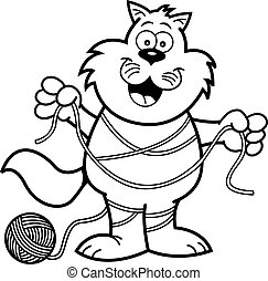 Cartoon cat tangled in yarn. - Black and white illustration...