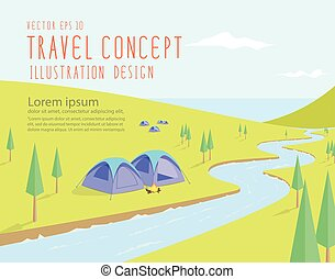Campsites spectacular natural located along the river that flows into the sea on a bright day flat vector.